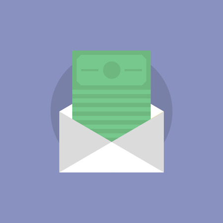 bribe: Envelope with money bills, e-mail dollars transfer, finance postal delivery service. Flat icon modern design style vector illustration concept.