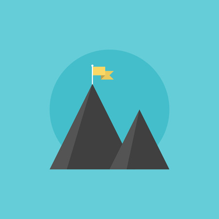 leadership: Mountain peak with flag as metaphor of businessman top performance, leadership achievement and success competition. Flat icon modern design style vector illustration concept. Illustration