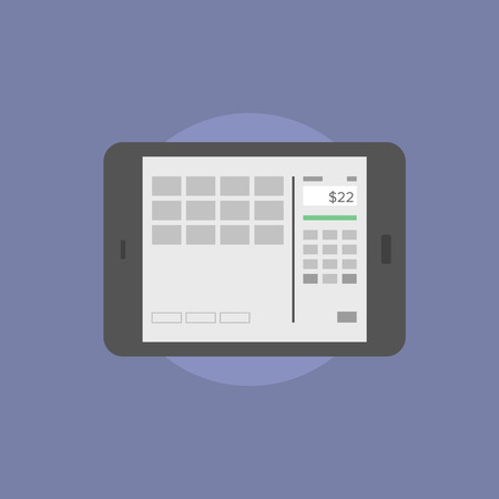flat screen: Digital tablet with online banking interface on a screen, financial information and internet bank account. Flat icon modern design style vector illustration concept.
