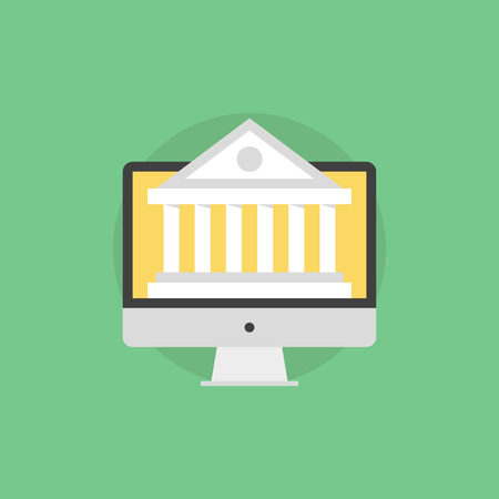 Online banking technology, computer monitor with bank building on a screen, financial service via internet access. Flat icon modern design style vector illustration concept.