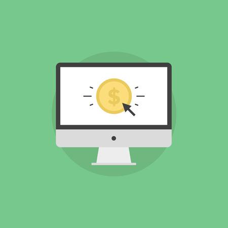 Online money making, success internet business, e-commerce payment, finance transfer and transaction. Flat icon modern design style vector illustration concept. Çizim