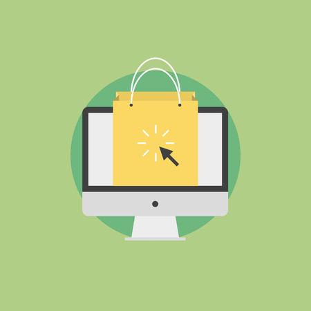 web technology: Lo shopping online e di e-commerce concetto, commerce internet, shopping bag sullo schermo di un monitor. Icona piatto moderno stile di design concept illustrazione vettoriale.
