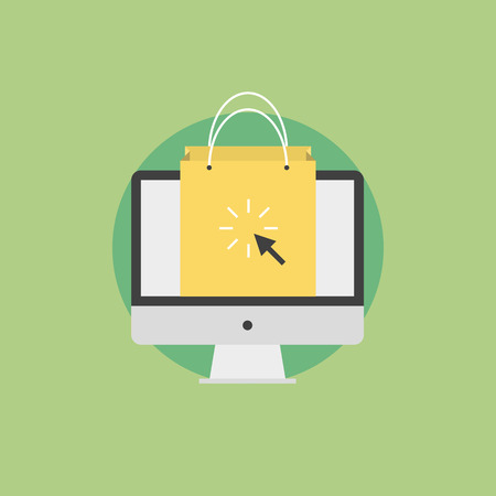 marketing concept: Online shopping and e-commerce concept, internet business commerce, shopping bag on a monitor screen. Flat icon modern design style vector illustration concept.