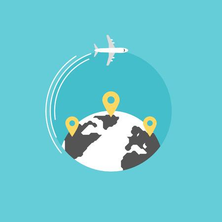Rond de wereld reizen met het vliegtuig, vliegtuig reis in verschillende landen, reizen pin locatie op een globale kaart. Vlakke icoon modern design stijl vector illustratie concept. Stock Illustratie