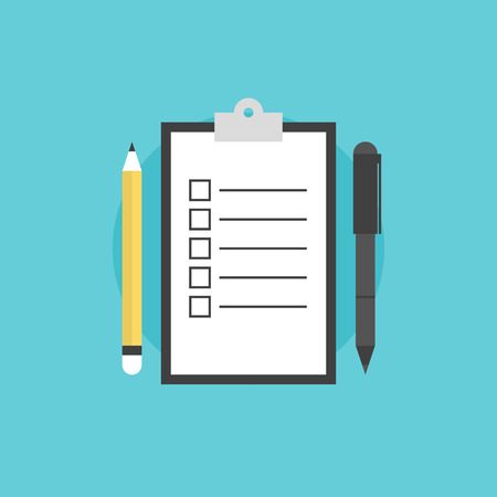 questionnaire: Clipboard with blank checklist form, to-do list and planning project with office supplies. Flat icon modern design style vector illustration concept.