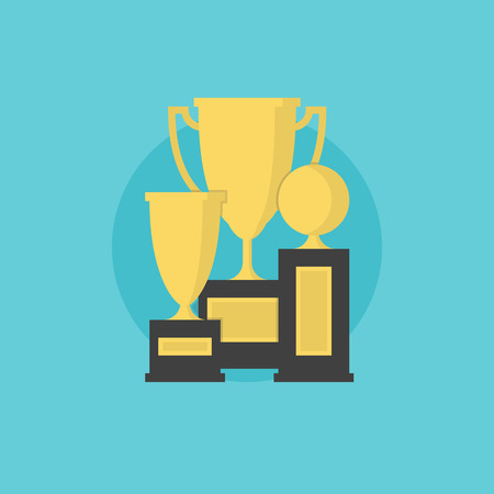 award trophy: Prize and awards of successful winner, trophy cup collection, leader winning and victory achievement. Flat icon modern design style vector illustration concept.
