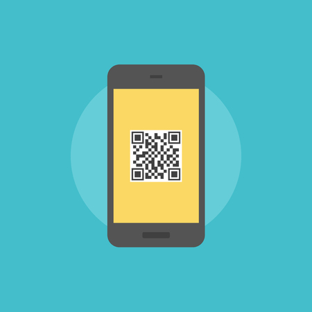 Smartphone with QR-code label on a screen, internet link with information when scanning qr code. Flat icon modern design style vector illustration concept.