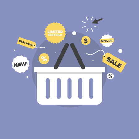 shopping cart: Shopping basket with discount price label, black friday big sales, limited offer tag, special prices coupon. Flat icon modern design style vector illustration concept.
