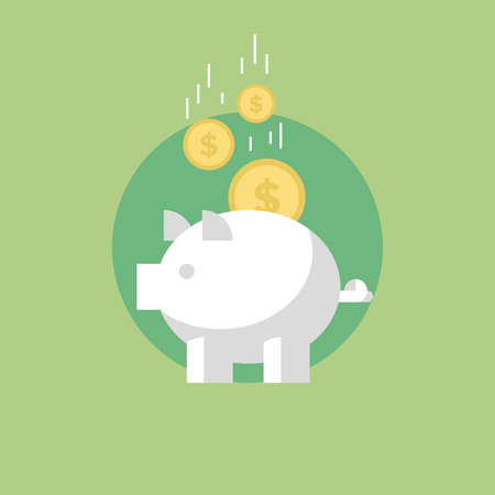 wealth: Piggy bank with coins, financial savings and banking economy, long-term deposit investment. Flat icon modern design style vector illustration concept. Illustration