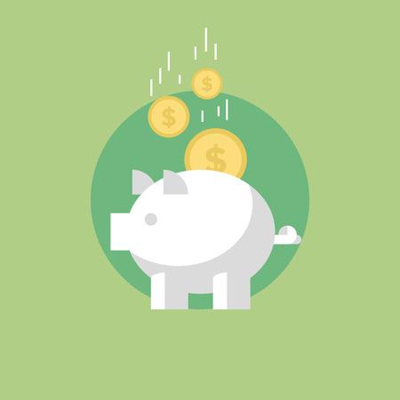 Spaarvarken met munten, financiële besparingen en bancaire economie op lange termijn deposito investering. Vlakke icoon modern design stijl vector illustratie concept.