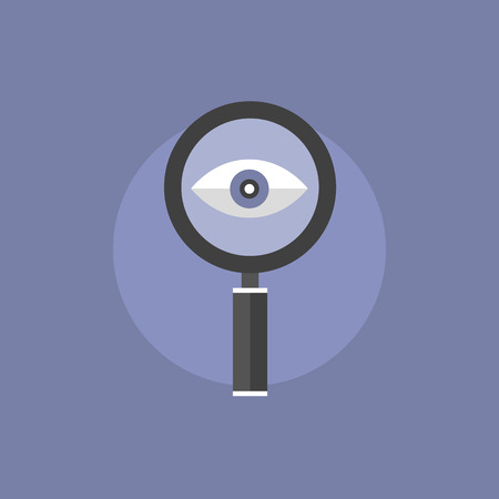 magnifying: Search with magnifier lens, eye looking forward with loupe, business vision concept. Flat icon modern design style vector illustration concept.