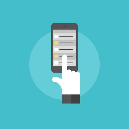휴대 전화에 일정 목록, 스마트 폰 Organizer 응용 프로그램에서 작업을 선택하는 손 터치. 플랫 아이콘 현대적인 디자인 스타일의 벡터 일러스트 레이 션 일러스트