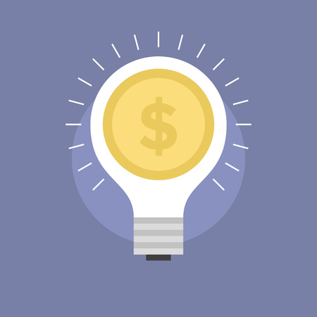 Startup market innovation, success money idea, lightbulb with dollar coin, fundraising from investor. Flat icon modern design style vector illustration concept. Illustration
