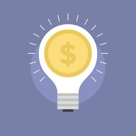 investor: Startup market innovation, success money idea, lightbulb with dollar coin, fundraising from investor. Flat icon modern design style vector illustration concept. Illustration