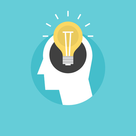 new ideas: New bright idea form human head, thinking about success solution, lightbulb as creativity metaphor. Flat icon modern design style vector illustration concept.