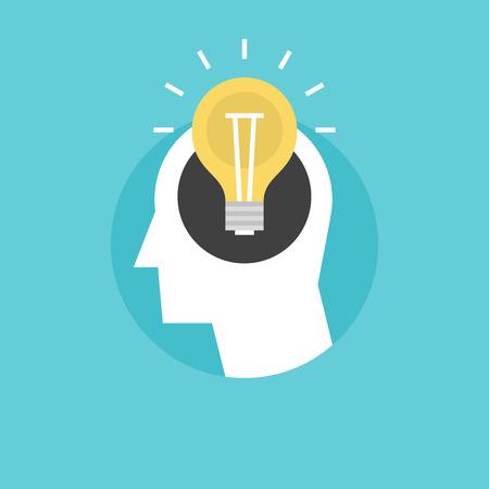 conocimiento: Nueva idea brillante forma de cabeza humana, pensando en solución éxito, bombilla como la creatividad metáfora. Icono plana moderno estilo de diseño de ilustración vectorial concepto.