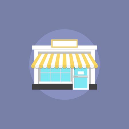 exteriores: Pequeño arquitectura tienda fachada, edificio comercial para ir de compras, casa local de bienes comerciales. Icono plana moderno estilo de diseño de ilustración vectorial concepto.