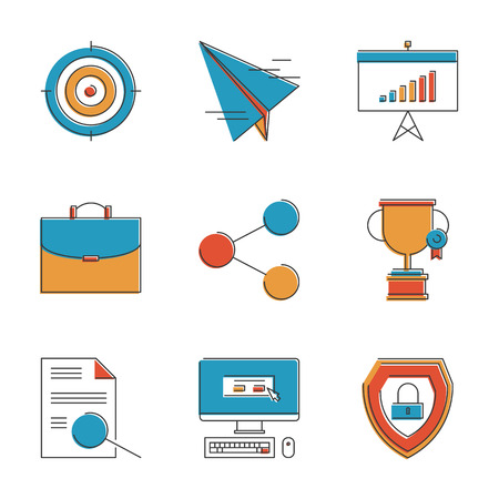 Abstract icons of success business planning, company portfolio, financial growth and office presentation on a flipchart. Unusual flat design line icons set unique art vector illustration concept. Illustration