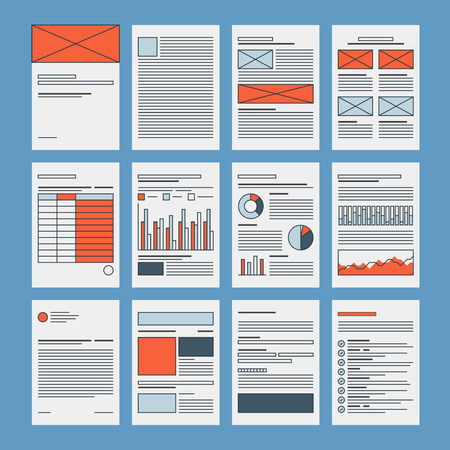 Corporate business documents template, company presentation files layout, financial data and marketing research abstract papers. Flat design icon set modern vector illustration concept. Vettoriali