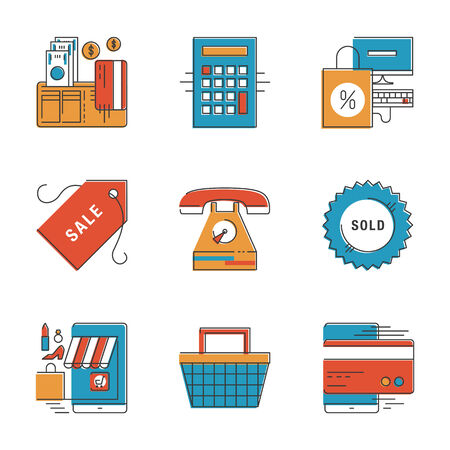 checkout line: Abstract icons of e-commerce payments, finance and shopping objects, internet marketing product and buying via internet. Unusual flat design line icons set unique art vector illustration concept.