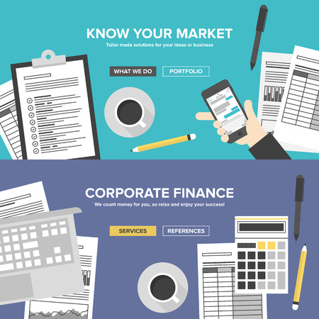 researching: Corporate business cervices, financial analytics and market research, office organization process, company accounting and planning documents. Flat design banner set modern vector illustration concept.