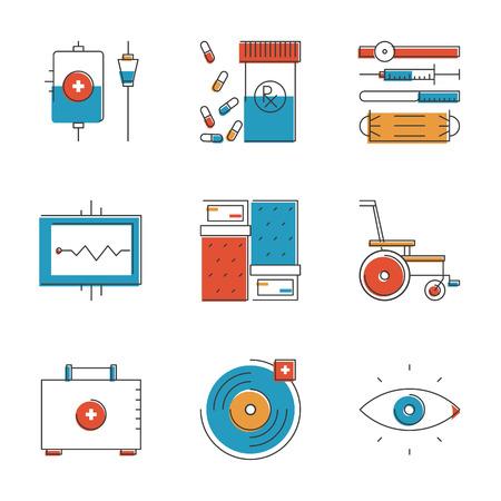 equipos medicos: Resumen iconos de herramientas y equipos m�dicos de atenci�n m�dica. Inusuales iconos de la l�nea dise�o plano conjunto �nico arte vectorial concepto.