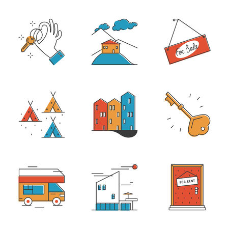 sell house: Abstract icons of house rental service, search real estate, rest in camping and recreation activity, buy and sell apartment. Unusual flat design line icons set unique art vector illustration concept. Illustration