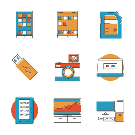 usb disk: Abstract icons of modern technology devices like smartphone, digital tablet,  photo camera, e-book, smart tv, memory card. Unusual flat design line icons set unique art vector illustration concept Illustration