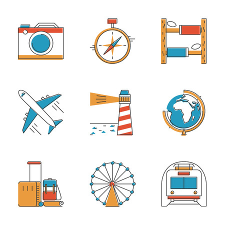 illustration journey: Abstract icons set of planning a  vacation, travelling on holiday journey, and passenger luggage. Unusual flat design line icons set unique art vector illustration concept.