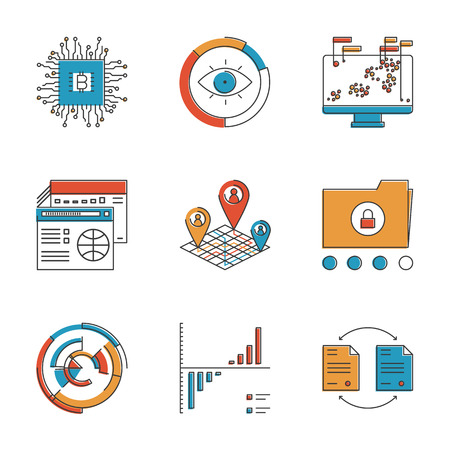 social networking service: Abstract icons of big data analytics report, business statistics and datum graphic information for analyzing and forecasting. Unusual flat design line icons set unique art vector illustration concept. Illustration