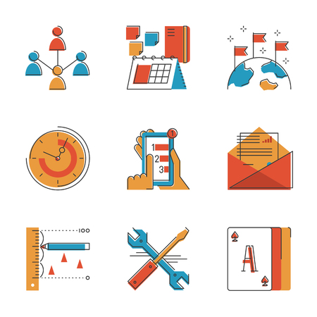 Abstract icons of global business people communication, office workflow elements, support tools, professional work schedule. Unusual flat design line icons set unique art vector illustration concept. Illustration