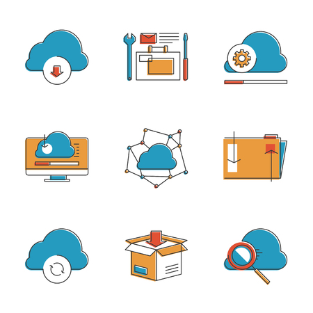 synchronization: Abstract icons of cloud computing communication technology, internet server hosting, folder sharing, computer data management. Unusual flat design line icons set unique art vector illustration concept