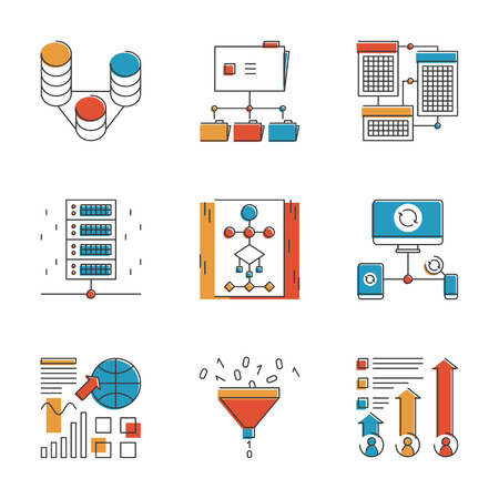 visualization: Abstract icons of big data analytics report, network statistics and datum infographic report for analyzing and forecasting. Unusual flat design line icons set unique art vector illustration concept.