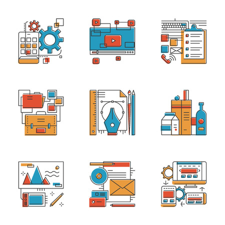 packaging equipment: Abstract icons of design agency services, mobile apps development, brand identity, office workflow, website seo optimization. Unusual flat design line icons set unique art vector illustration concept.