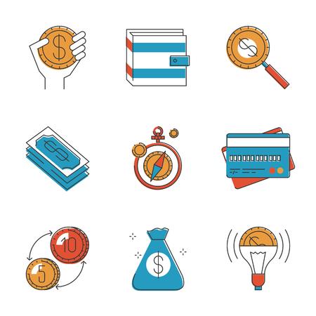 superacion personal: Iconos abstractos de la inversi�n financiera para el proyecto de desarrollo de negocios, finanzas personales, mercado mundial de divisas. Inusuales iconos de la l�nea dise�o plano conjunto �nico arte vectorial concepto.