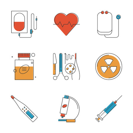 clinical thermometer: Abstract icons of medical items and surgery tools, healthcare equipment, medicine research and diagnostics, blood transfusion. Unusual flat design line icons set unique art vector illustration concept Illustration