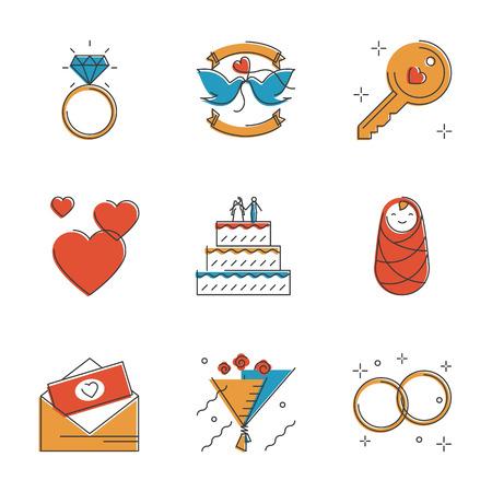 anillo de compromiso: Resumen iconos de celebración de la boda de accesorios y elementos, anillos de matrimonio, ramo de novia, día de San Valentín romántica propuesta. Inusuales iconos de la línea diseño plano set vector arte único concepto de ilustración