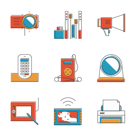 hi fi system: Abstract icons of digital devices and electronics like digital tablet, projector, printer, music player and cordless phone. Unusual flat design line icons set unique art vector illustration concept