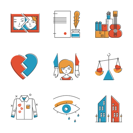 Abstract icons of problematic relationship like divorce, heartbroken, remarriage, husband mistress and unhappy breakup. Unusual flat design line icons set unique art vector illustration concept. Illustration