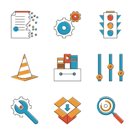 Abstract icons of web settings and configuration testing, website support and service tools, internet file archive. Unusual flat design line icons set unique art vector illustration concept. Vector