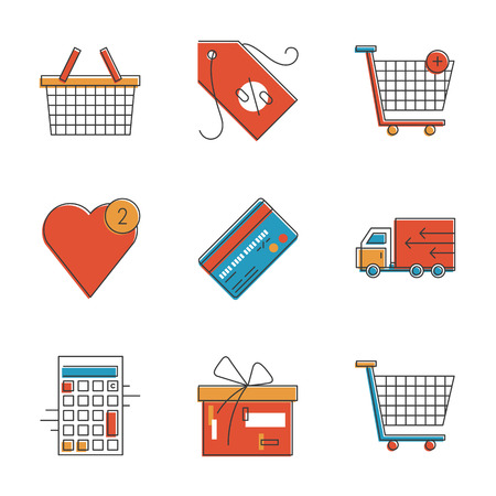Abstract icons of e-commerce items, shopping cart and shop basket, retail elements and market objects. Unusual flat design line icons set unique art vector illustration concept. Vector