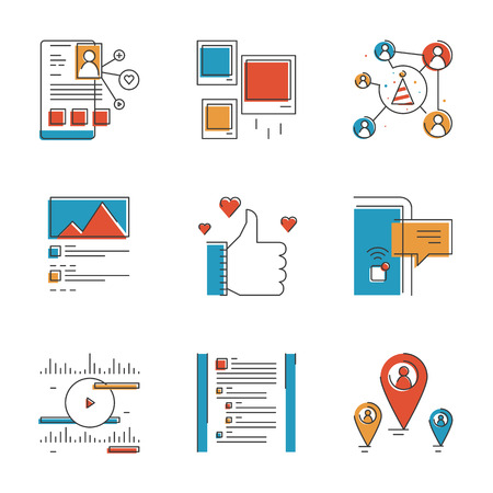community event: Abstract icons of social networking communication, mobile user interface elements, people messaging and lifestyle connection. Unusual flat design line icons set unique art vector illustration concept Illustration