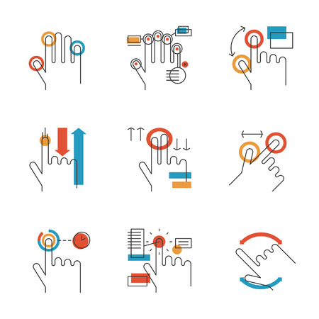 multitouch: Abstract icons of common used multitouch and touch screen gestures for digital tablets or smartphone. Unusual flat design line icons set unique art vector illustration concept.