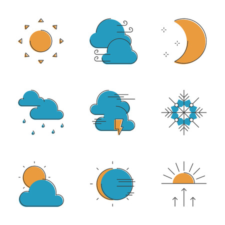 atmospheric pressure: Abstract icons of local current weather conditions, including temperature, rain, wind speed, cloud, atmospheric pressure. Unusual flat design line icons set unique art vector illustration concept.