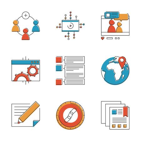 fila di persone: Abstract icone di comunicazione sociale marketing, sito processo di sviluppo, ottimizzazione seo e gruppo di networking digitale. Insolito icone delle linee design piatto unico insieme di arte illustrazione vettoriale concetto. Vettoriali