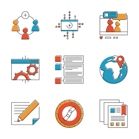 Abstract icons of social marketing communication, website development process, seo optimization and digital networking group. Unusual flat design line icons set unique art vector illustration concept.