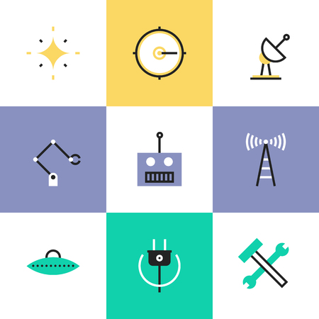 Science innovative engineering, robotics construction industry, broadcasting radio signal, green power and energy. Unusual line icons set, flat design abstract pictogram vector illustration concept.