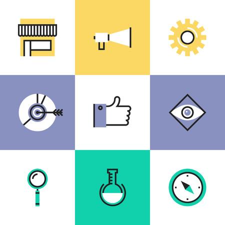 Digital marketing development elements, effective social media strategy, market solution, website seo optimization. Unusual line icons set, flat design abstract pictogram vector illustration concept.