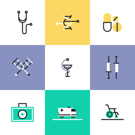 First aid kit and medical equipment, DNA genome structure, biotechnology research, rehabilitation support. Unusual line icons set, flat design abstract pictogram vector illustration concept. Illustration