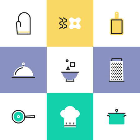 Kitchen tools, cooking utensils and kitchenware equipment, food preparation elements. Unusual line icons set, flat design abstract pictogram vector illustration concept. Illustration